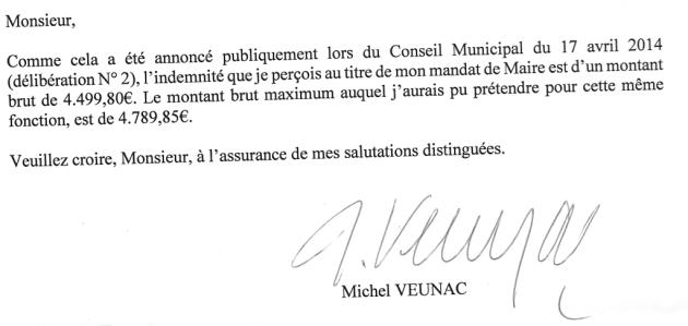 Réponse Veunac