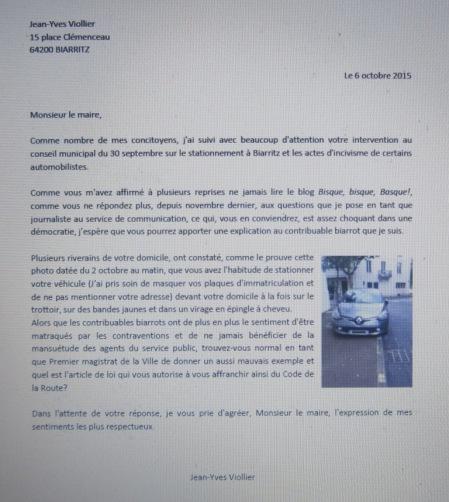 Lettre à Veunac sur le stationnement